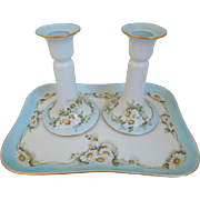 Antique  Limoges T& V  Tressemann & Vogt  Porcelain Vanity Tray And Candle Holders, Floral Motif, Artist signed & Dated 1913