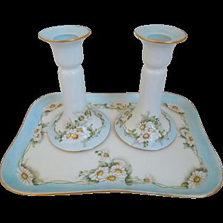 Antique  Limoges T& V  Tressemann & Vogt  Porcelain Vanity Tray And Candle Holders, Floral Motif, Artist signed & Dated 1913