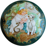 "Antique 19th Century Spectacular T&V Limoges Hand Painted Large 8"" Porcelain Powder Jar With Young Girl & Dog, Tressemann & Vogt, Circa 1892-1907"