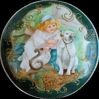 "Antique 19th Century Spectacular T&V Limoges Hand Painted Large 8"" Porcelain Powder Jar With Young Girl & Dog, Tressemann & Vogt, Circa 1892-1907"