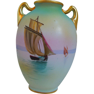 Antique Nippon Hand Painted Porcelain Vase With Sailboat Scene