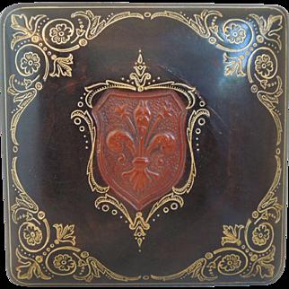 Vintage Italian Florentine Embossed Leather Box With Fleur De Lis