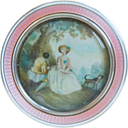 French Guilloche Enamel Crystal Sterling Silver Dresser Powder Jar With Small Painting Of Courting Scene, Edwardian Era, Artist Signed