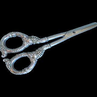 Grape Shears Sterling Silver Handles Polished Steel Blades Circa 1910