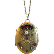 19th Century Victorian Gold Filled Oval Mourning Locket, Hair, Pendant