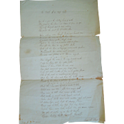 """Early 19th Century Poem Entitled, """"Loss Of An Only Sister"""" By Susan Bent, Boston, Mass., Signed & Dated 1833"""