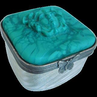 Vintage Petite Pate De Verre Glass Trinket Box With Medusa Circa 1920's