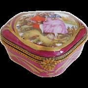 Limoges Porcelain Trinket Box, Courting Scene, Artist Initals. EP
