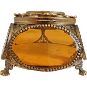 Vintage Ormolu Filigree Trinket Casket Vitrine Box, With 5 Sided Beveled Amber Glass