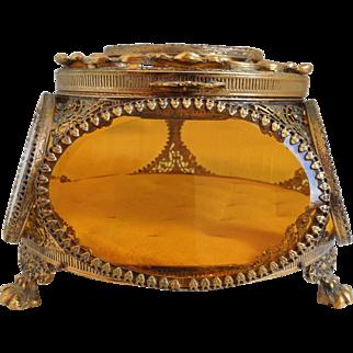 Vintage Ormolu Filigree Trinket Casket Vitrine Box, With 5 Sided Beveled Amber Glass