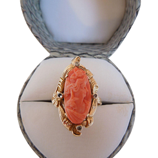 Antique Natural Carved Coral And Diamond Ring, 10K Gold