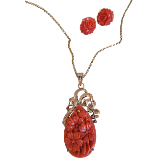 Vintage Natural Carved Coral Salmon Necklace Pendant And Carved Carol Earring Set, Floral Motif, 14K Yellow Gold