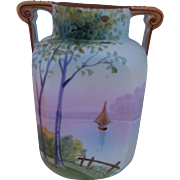 Nippon Hand Painted Morimura Porcelain Vase With Sailboat, Circa 1910