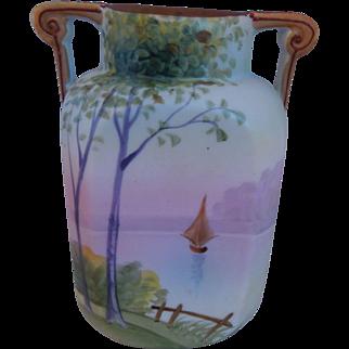 Nippon Hand Painted Morimura Porcelain Vase With Sailboat, Circa 1910