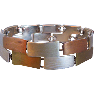 Vintage Taxco Mexico Modernist Link Bracelet, Mid- Century, Sterling Silver & Mixed Metals, 1950's. Artist Signed JHP