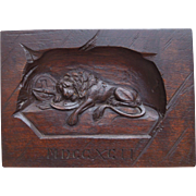 Antique Hand Carved Swiss Black Forest, Lion Of Lucerne, Wood Plaque, Circa 1900