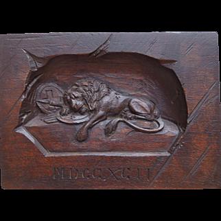 Antique Hand Carved Swiss Black Forest, Lion Of Lucerne, Wood Plaque, Circa 1900