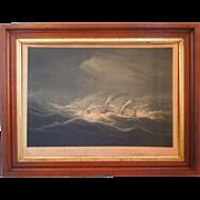 "19th Century Antique Hand Colored Engraving Entitled, "" The Neptune, Capt. Albert Broadhurst In A Hurricane 2nd Feb. 1835"" By Artist, William John Huggins, London, Circa 1836"