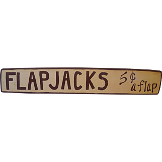 """Vintage  Wood Advertising Sign, """"FlapJacks 5 Cents A Flap"""""""