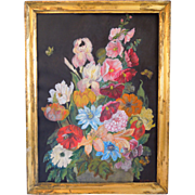 Victorian Floral Still Life Watercolor Painting, Artist Signed M.O. Boyd, Circa 1900