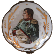Antique Limoges Porcelain Trinket Box With Napoleon Bonaparte Portrait, Circa 1900