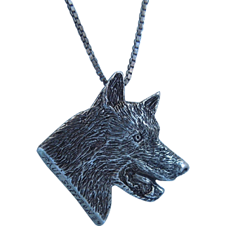Vintage Sterling Pendant Necklace Of A Wolf, Artist Signed