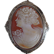 Antique Edwardian Carved Shell Cameo Pin, Brooch 10K White Gold
