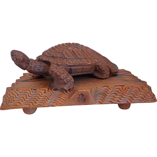 Vintage Japanese Hand Carved Wood Okimono Turtle Tortoise Sculpture With Stand, Artist Signed