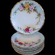 Limoges Hand Painted T&V (Tressemann & Vogt) Porcelain Plates With Roses Motif, Gold Gilt, Set Of 6, Circa 1892-1907 Artist Signed, J. Pierce