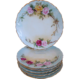 Limoges Hand Painted T&V (Tressemann & Vogt) Porcelain Plates With Roses Motif, Gold Gilt, Set Of 6, Circa 1892-1907 Artist Signed, J. Pierce