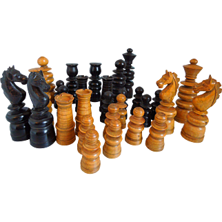 Antique English Carved, Turned Wood Chess Set, Circa 1900