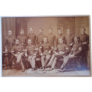 19th Century Large Group Albumen Photograph Of Military Cadets, The First Corps Cadets Of Massachusetts, Boston, Mass. Circa 1880's, 1890's, Scarce