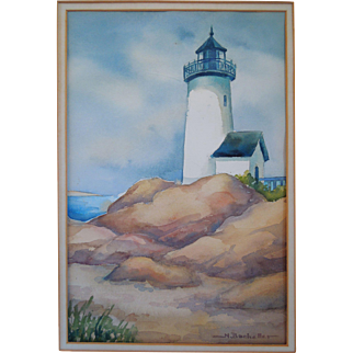 Watercolor Painting With Lighthouse, Artist Signed, N. Bacheller, Circa 1960's, 1970's