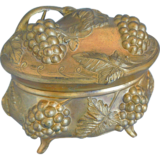 Art Nouveau Large Jewelry Casket Or Box With Grapes & Leaves Motif, Raised Relief, Footed, Silk Lining, Circa 1900