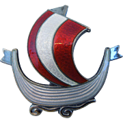 Vintage Sterling Silver Askel Holmsen Norway Guilloche Enamel Red & White Viking Ship Pin