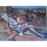 Vintage Pastel Painting Of A Beach Scene With A Man Sunbathing By Listed Artist, Wayne Beam Morrell (1923-2013) Unsigned, Circa 1960's, 1970's