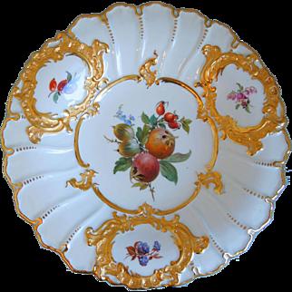 Antique 19th Century Meissen Hand Painted Porcelain Bowl, Gold Gilt