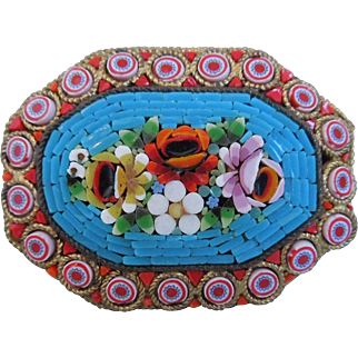 Vintage Micro Mosaic Pin With Floral Motif, Italy, Circa 1930's