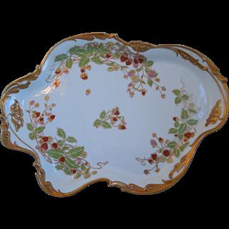 Antique Art Nouveau Limoges Jean Pouyat JP Porcelain Tray With Strawberry Motif, Gold Gilt, Circa Jan, 23, 1908