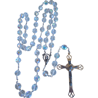 """Vintage Large Aurora Borealis Faceted Crystal Rosary With Crucifix, Italy, 30 1/2"""", 1940's, 1950's"""