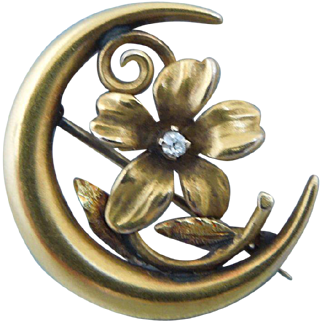 Antique Victorian Honeymoon Pin Brooch With Flower And Diamond, Champenois & Co., 14K Gold