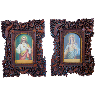 Antique Pair Of Virgin Mary And Jesus Chromolithographs In Ornate Hand Carved Black Forest Frames