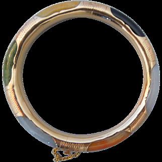Vintage Multi Color Jade Bangle Bracelet Etched Hinged 14K