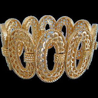 Vintage Crown Trifari Mid- Century Gold Tone Signed Bracelet, 1950's