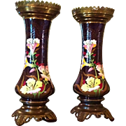 Pair of Majolica Vases c. 1880 (believed to be Austrian)