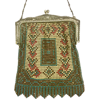 1920s Art Deco Metal Mesh and Enamel Purse