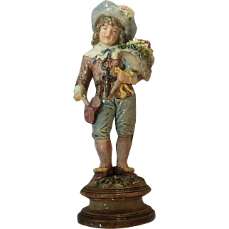 Early Austrian Figurine, Boy with Flowers and Letter