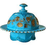 Rare Northwood BLUE Chrysanthemum Sprig Butter Dish