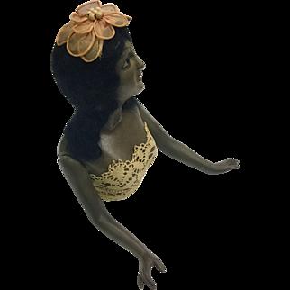 Rare, Large, Black, Porcelain Half Doll c. 1915