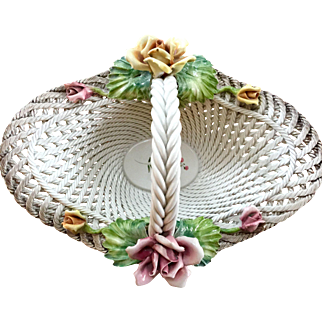 "16 3/4"" Vintage Capodimonte Basket with Pink and Yellow Roses"